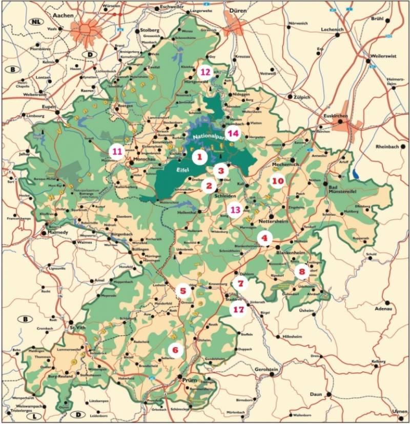 Lageplan vom Wildcamping in der Eifel – Bild Copyright trekking-eifel.de
