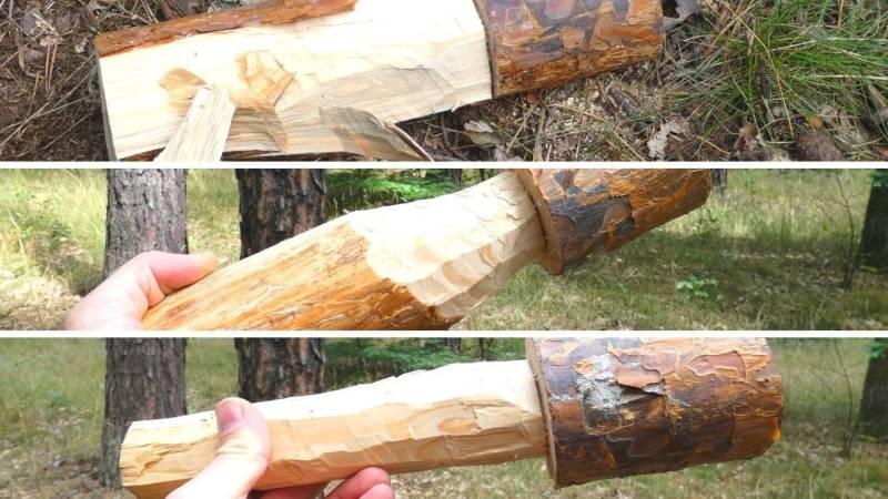 Trage so viel Holz ab wie nötig, um einen Griff zu formen