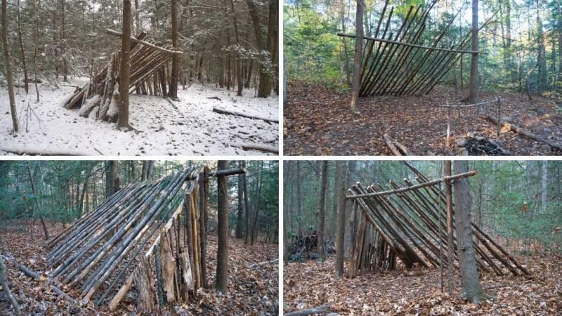 Ein Bushcraft-Survival-Shelter, welches dann später noch abgedeckt wird mit Reisig, Blättern und Waldmaterial