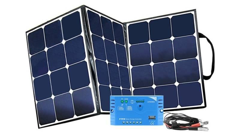 Ein faltbares Solarmodul kann deine Akkus aufladen und deine Elektrogeräte betreiben