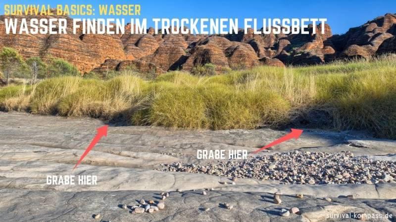 Wasser finden im trockenen Flussbett