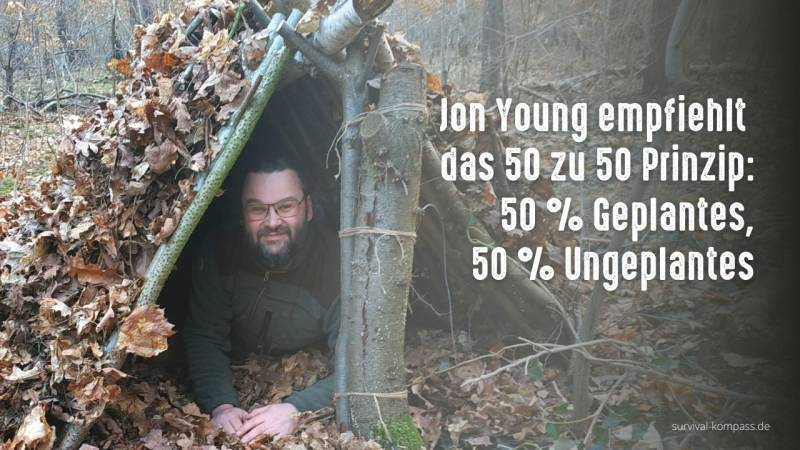 Jon Young empfiehlt das 50/50 Prinzip: 50 % geplante Aktivitäten und 50 % ungeplante Aktivitäten