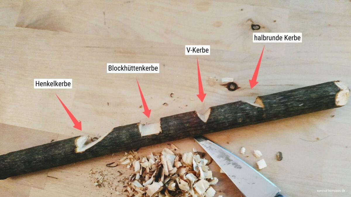 Die vier verschiedenen Arten der Kerben: Henkelkerbe, Blöckhüttenkerbe, V-Kerbe, Halbrunde Kerbe.