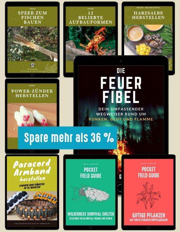 Outdoor-Paket (Feuer, Speer, Zünder, Harz, Pocket Guides)