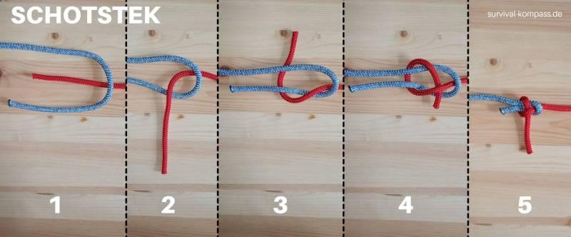Schotstek, nützlich um zwei Seile zu verbinden