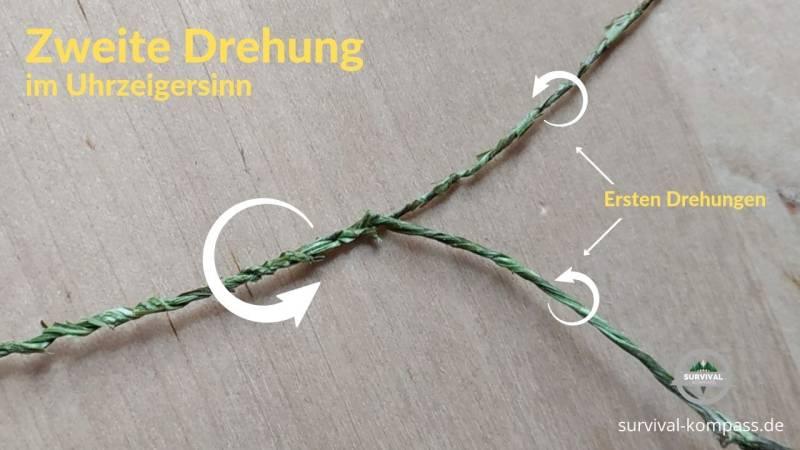 Drehe beide Seile im Uhrzeigersinn zusammen