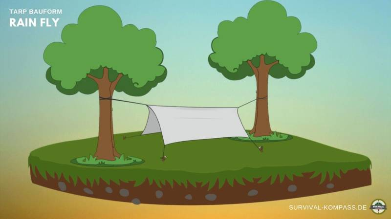 Baue dein Tarp wie ein Zelt auf und hänge es über die Hängematte