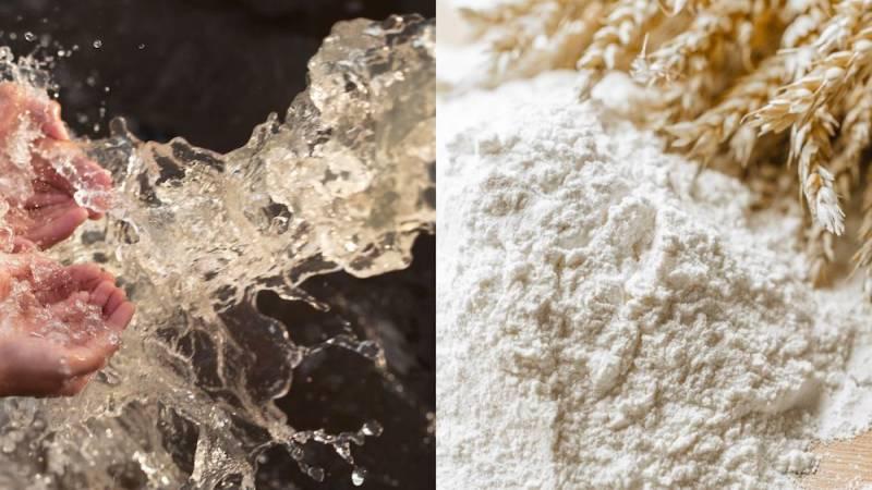 Wasser und Mehl - die Grundzutaten für fast alle Brotteige